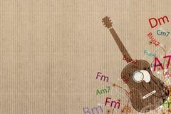 Gitaar en de achtergrond van de Muziek vector illustratie