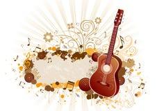 gitaar en grunge inkt Stock Fotografie