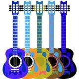gitaar en 5 kleuren Stock Afbeelding