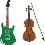 Gitaar en viool Royalty-vrije Stock Afbeeldingen