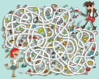 Gitaar Maze Game. Oplossing in verborgen laag! Stock Foto's