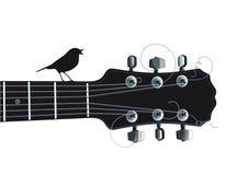 Gitaar met het zingen vogel Royalty-vrije Stock Afbeeldingen