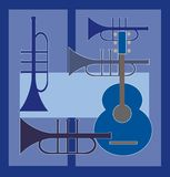 Gitaar plus trompet Royalty-vrije Stock Afbeeldingen