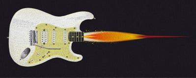 Gitaar Rocket Oil Painting Royalty-vrije Stock Foto