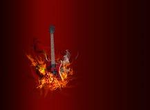 Gitaar in vlammen Stock Afbeelding