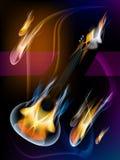 Gitaar in vlammen Royalty-vrije Stock Foto