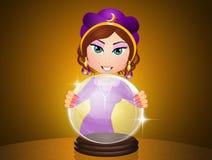 Gitano con la bola de cristal ilustración del vector