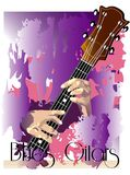 Gitar blues. Blues guitar playing color illustration Royalty Free Stock Photography