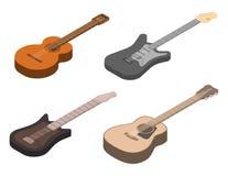 Gitar ikony ustawia?, isometric styl royalty ilustracja
