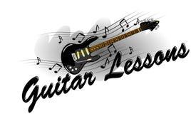Gitar lekcje - gitara elektryczna z muzycznymi notatkami Obrazy Stock