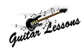 Gitar lekcje - gitara elektryczna z muzycznymi notatkami Zdjęcia Royalty Free