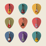 Gitar płaskie ikony ustawiać Obraz Stock