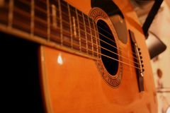 Gitar Strings. Close up on acoustic guitar strings Royalty Free Stock Images