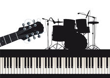 Gitara bębeny i pianino ilustracji