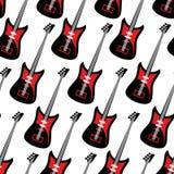 Gitara bezszwowy wzór Gitary elektrycznej wielostrzałowy tło T ilustracja wektor