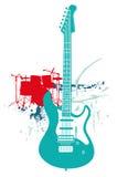 Gitara elektryczna i bębeny ilustracja wektor