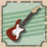 Gitara elektryczna nad retro tło ikony projektem Obraz Stock