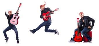Gitara gracz odizolowywający na bielu Zdjęcia Royalty Free