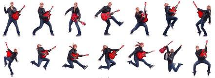 Gitara gracz odizolowywający na bielu Obraz Royalty Free