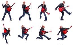 Gitara gracz odizolowywający na bielu Obrazy Royalty Free