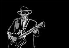 Gitara gracz z kapeluszem i szk?ami ilustracja wektor