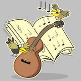 Gitara i ptak Obrazy Royalty Free