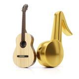 Gitara i złota muzyki notatka Zdjęcia Stock