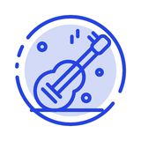 Gitara, muzyka, Usa, Amerykański błękit Kropkująca linii linii ikona ilustracji