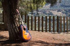gitara na drzewnym cieniu przy lasową jesieni scenerią fotografia stock