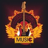 Gitara na ogieniu Zdjęcia Royalty Free
