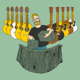 Gitara sklep royalty ilustracja