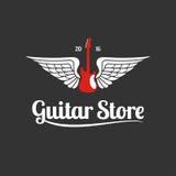 Gitara sklepu szablonu wektorowy logo Zdjęcia Royalty Free