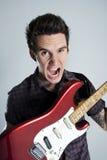 Gitara szczęśliwy mężczyzna zdjęcia stock