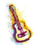Gitara z grunge akwareli pluśnięciami przedmiotem tła ścieżki wycinek odizolowane white Obraz Stock