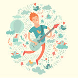 Gitarist, beeldverhaal hipster het spelen gitaar op een kleurrijke achtergrond Stock Afbeeldingen