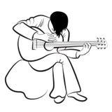 Gitarist die de gitaar speelt Gestileerd, contouren, vector Royalty-vrije Stock Foto's
