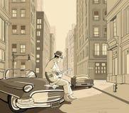 Gitarist in een oude straat van New York royalty-vrije illustratie