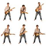 Gitarist in een overhemd Royalty-vrije Stock Foto's