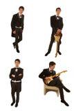 Gitarist in kostuum Royalty-vrije Stock Fotografie