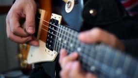 Gitarist Playing On Guitar stock video
