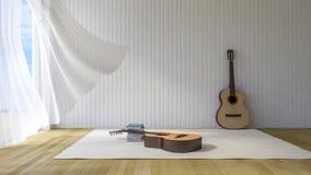 gitarr 3ds i rummet Arkivbilder