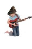 gitarr för 5 flicka som leker pre teen barn Arkivbild