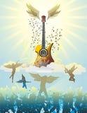 Gitarr i skyen vektor illustrationer