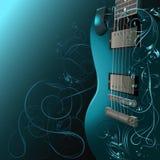 Gitarr med blom- modeller. Arkivbild