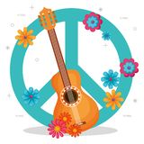 Gitarr med blommahippiekultur royaltyfri illustrationer