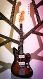 Gitarr med hals- och huvudfilialen royaltyfria bilder