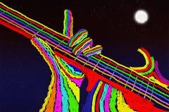 Gitarr mot natthimlen royaltyfri illustrationer