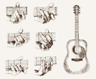 Gitarr och ackord royaltyfri illustrationer