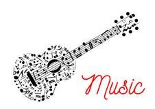 Gitarr som komponeras av symbol för musikaliska anmärkningar Arkivbild