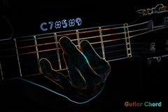 Gitarrackord på en mörk bakgrund royaltyfri illustrationer